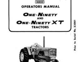 Allis Chalmers 70257950 Operator Manual - 190 / 190XT Tractor (prior sn 23001)