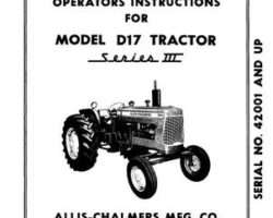 Allis Chalmers 70257960 Operator Manual - D17 Series 3 Tractor (eff sn 42001 - 75000)