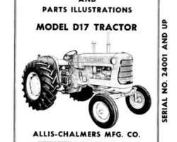 Allis Chalmers 70257962 Operator Manual - D17 Series 2 Tractor (gas, eff sn 24001 - 42000)