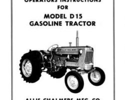Allis Chalmers 70257967 Operator Manual - D15 Tractor (gas, prior sn 13001)