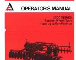 Allis Chalmers 70573261 Operator Manual - 2300 Series Disc (tandem wheel, fold & non-fold)