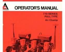 Allis Chalmers 70585905 Operator Manual - 700 Series (prior sn 451) / 770 (prior sn 703 Planter (air champ)