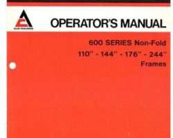 Allis Chalmers 70592748 Operator Manual - 600 Series Planter (non-fold, 110 - 244 inch frame, 1977)