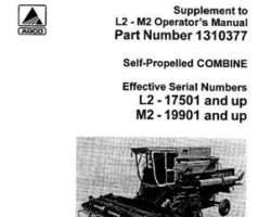 Gleaner 71310310 Operator Manual - L2 / M2 Combine (soybean & rice supplement, eff sn 19901-22100)