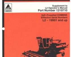 Gleaner 71317214 Operator Manual - L2 Combine (rice & soybean special suppl., eff sn 19501)