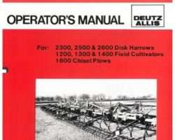 Allis Chalmers 71509020 Operator Manual - 23-25-2600 Harrow / 12-13-1400 Cultivator / 1600 Plow (coil tine)