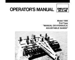 Allis Chalmers 71509983 Operator Manual - 1500 / 1600 Chisel Plow (Min-Til, pull-type)