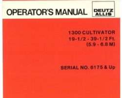 Allis Chalmers 71510255 Operator Manual - 1300 Cultivator (wing, 19.5 - 39.5 ft, eff sn 6175)