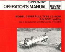AGCO 71510877 Operator Manual - 385FF Planter (pull type, 12 row supplement, eff sn 5001)