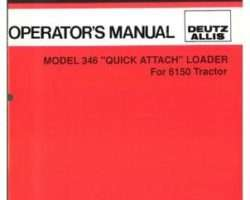 Deutz Allis 71511057 Operator Manual - 346 Loader