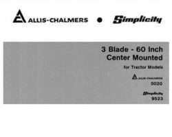 Allis Chalmers 71664307 Operator Manual - 3 Blade 60 In Mower (center mount for 5020 tractor)