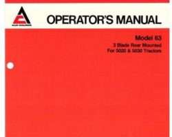 Deutz Allis 72108589 Operator Manual - 63 Mower (rear mount)