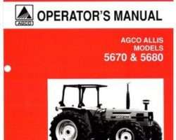 AGCO Allis 72200445 Operator Manual - 5670 / 5680 Tractor (prior sn 1500)