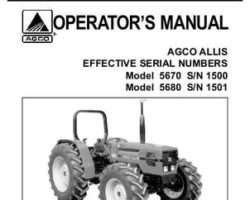 AGCO Allis 72201413 Operator Manual - 5670 / 5680 Tractor (eff sn 1501)