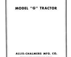 Allis Chalmers 79003102 Parts Book - G Tractor