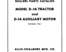 Allis Chalmers 79003125 Parts Book - D14 Tractor