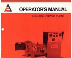 AGCO Allis 79005005 Operator Manual - PP20 / PP40 Electric Power Plant