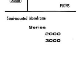 Allis Chalmers 79005147 Parts Book - 2000 Series / 3000 Series Semi-Mounted Plow (16 - 18 ft bottom)