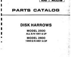 Allis Chalmers 79008401 Parts Book - 2500 Disc (all) / 2600 Disc (s/n 4575 and up)