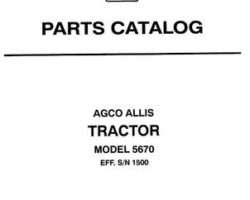 AGCO Allis 79016596 Parts Book - 5670 Tractor (eff sn 1501)