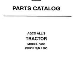 AGCO Allis 79016704 Parts Book - 5680 Tractor (prior sn 1500)