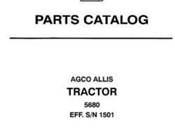 AGCO Allis 79017020 Parts Book - 5680 Tractor (eff sn 1501)