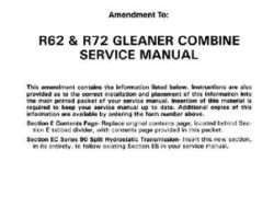 Gleaner 79017046 Service Manual - R62 / R72 Combine (90 series hydrostat section update)