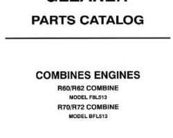 Gleaner 79017107 Parts Book - R60 / R62 / R70 / R72 Combine Engine (B/FL513 air cooled)