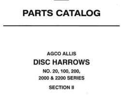 Allis Chalmers 79017428 Parts Book - 20 / 100 / 200 / 2000 / 2200 Series Disc (8.5, 10, 11, & 12 ft)