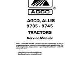 AGCO Allis 79017532 Service Manual - 9735 / 9745 Tractor (packet)