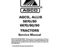 AGCO Allis 79018267 Service Manual - 5670 / 5680 / 6670 / 6680 / 6690 Tractor (packet)