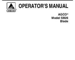 AGCO 79019020 Operator Manual - SB26 Front Blade