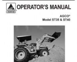 AGCO 79019036B Operator Manual - ST35 / ST40 Compact Tractor (prior sn 'L')