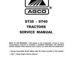 AGCO 79019398 Service Manual - ST35 / ST40 Compact Tractor (prior sn 'L') (packet)