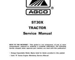 AGCO 79019486 Service Manual - ST30X Compact Tractor (std trans, prior sn 'L') (packet)