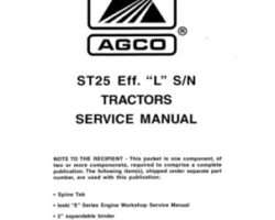 AGCO 79019487B Service Manual - ST25 Compact Tractor (eff sn 'L') (packet)