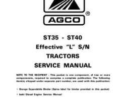 AGCO 79021618 Service Manual - ST35 / ST40 Compact Tractor (eff sn 'L') (packet)
