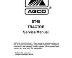 AGCO 79021878 Service Manual - ST45 Compact Tractor (packet)