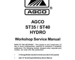 AGCO 79023088 Service Manual - ST35 / ST40 Compact Tractor (hydro, eff sn 'L') (packet)
