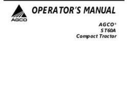 AGCO 79024005A Operator Manual - ST60A Compact Tractor