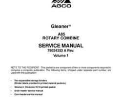 Gleaner 79024353A Service Manual - A85 Combine (Volume 1, packet)