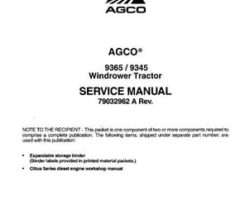 AGCO 79032962A Service Manual - 9345 / 9365 Windrower (2008)