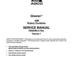 Gleaner 79032990A Service Manual - A86 Combine (packet)