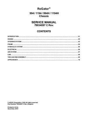 Ag-Chem 79034097C Service Manual - 994 / 1194 / 994H / 1994H RoGator (chassis) (packet)