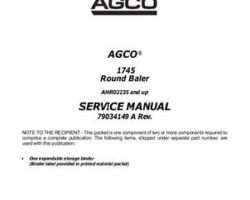 AGCO 79034148A Service Manual - 1745 Round Baler (eff sn AHR02235) (assembly)