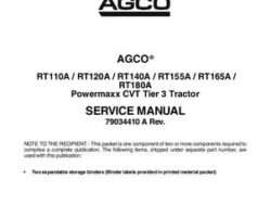 AGCO 79034410A Service Manual - RT A Series Tractor (Powermaxx CVT, tier 3) (packet)