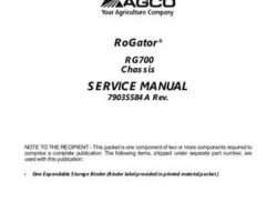 Ag-Chem 79035584A Service Manual - RG700 RoGator (chassis) (packet)