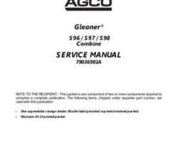 Gleaner 79036981A Service Manual - S96 / S97 / S98 Combine (packet)