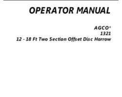 AGCO 997205ABB Operator Manual - 1321 Disc Harrow (2 section offset, 12-18 ft)