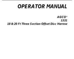 AGCO 997206ABB Operator Manual - 1331 Disc Harrow (offset, 20 ft.)